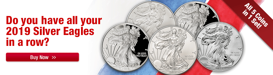 2019 5 coin set of Silver Eagles