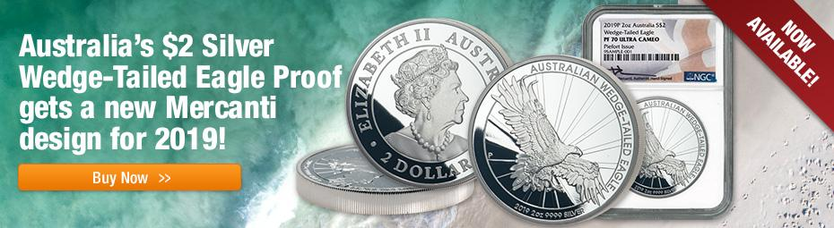 2019 Silver Wedge-Tailed Eagle Piedfort