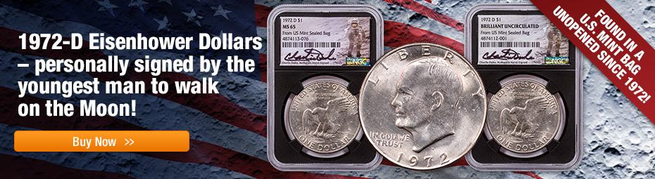 1972 Charlie Duke Signed Ike Dollars From Sealed Mint Bag