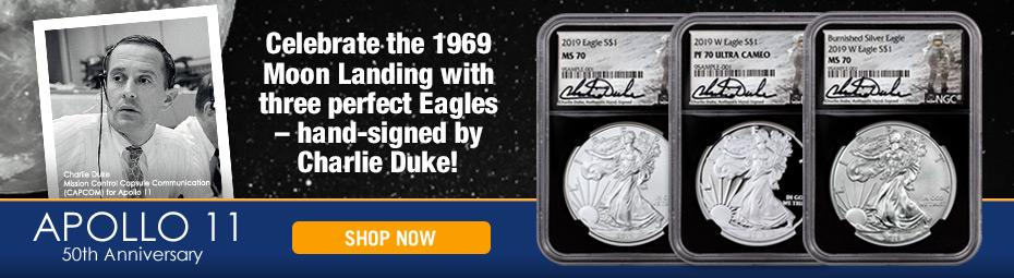 Charlie Duke Signed Silver Eagles