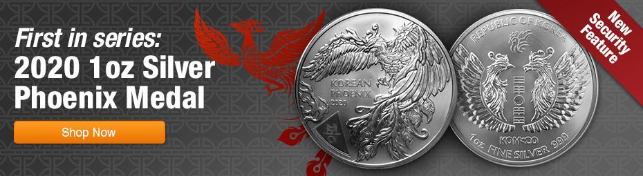 2020 South Korea 1-oz Silver Phoenix Medal Gem BU