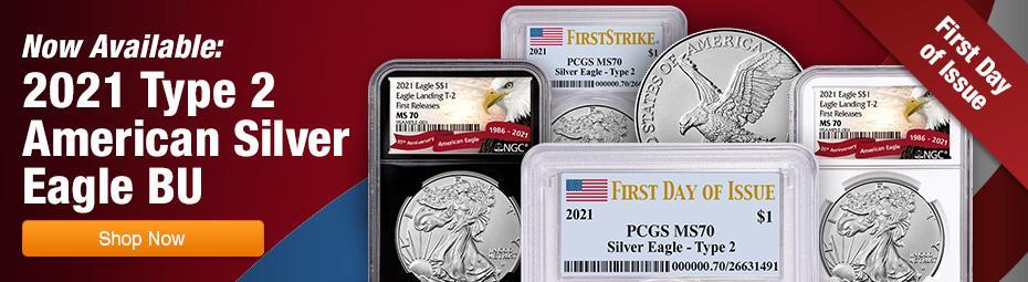 2021 Type 2 American Silver Eagle BU