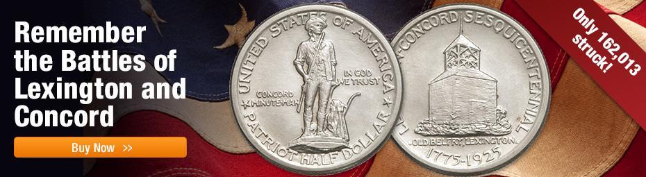 Shop Silver Half Dollar Lexington-Concord Sesquicentennial Commemorative