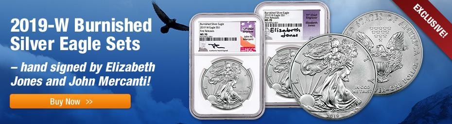 2019 Burnished Silver Eagle Signed