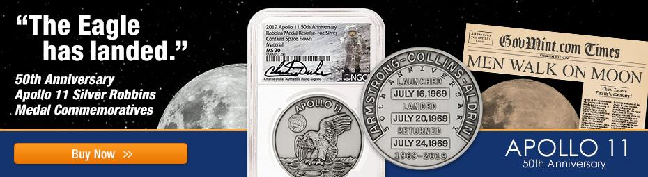 Space Flown Robbins Medal Signed by Charlie Duke