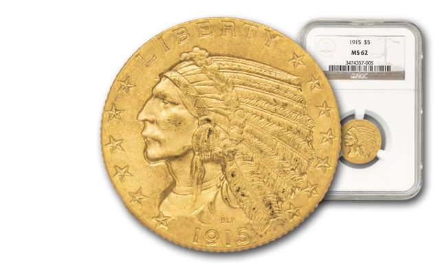 1908-1929 5 Dollar Gold Indian NGC/PCGS MS62