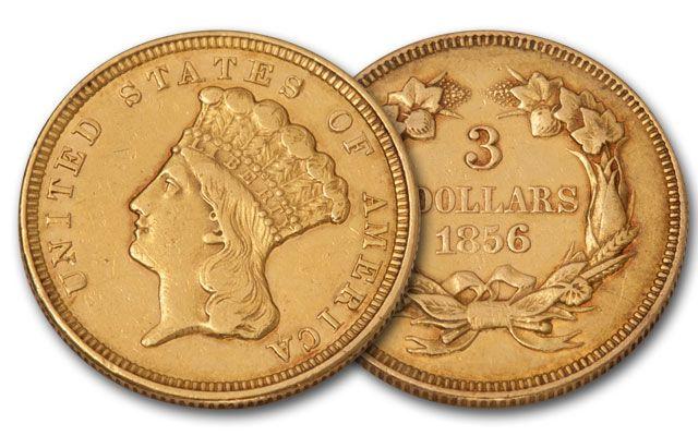 1854-1889 3 Dollar Gold Indian Princess XF