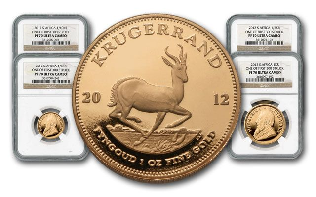 2012 South Africa Gold Krugerrand Set NGC PF70 First Struck