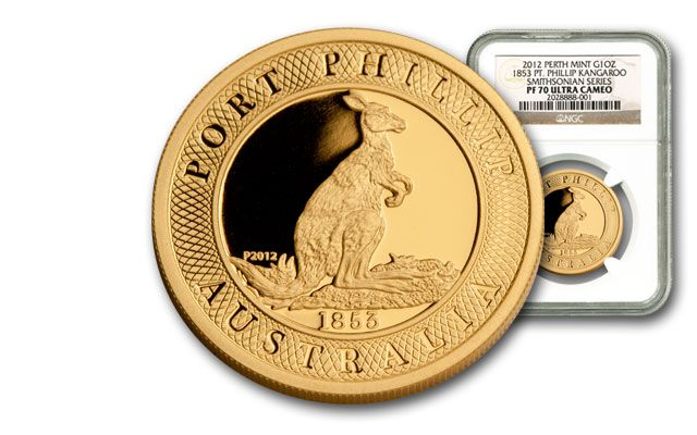 2012 Australia 1-oz Gold Port Phillip Kangaroo NGC PF70 Smithsonian Collection