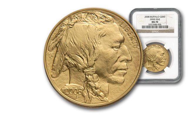 2008 50 Dollar 1-oz Gold Buffalo NGC MS70