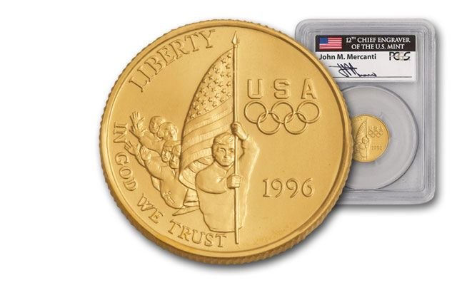 1996-W 5 Dollar Olympic Flag Bearer PCGS MS69 Mercanti Signed
