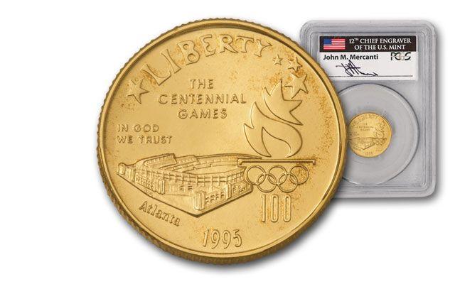 1995-W 5 Dollar Olympic Stadium PCGS MS69 Mercanti Signed