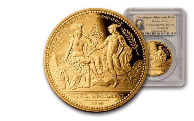 France 1-oz Gold Washington Diplomatic Medal PCGS GEM PROOF no COA