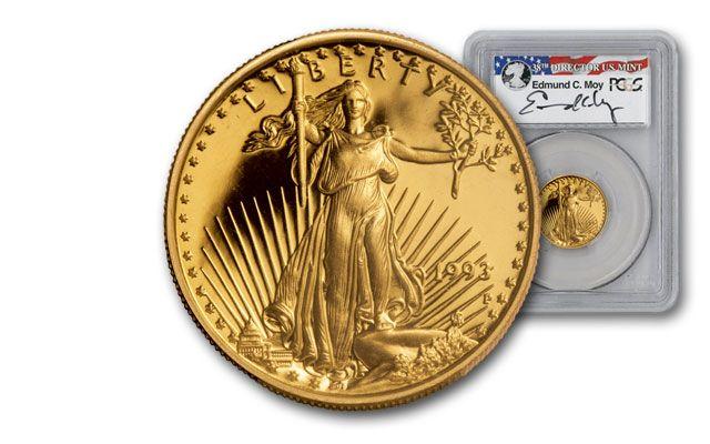 1993 10 Dollar 1/4-oz Gold Eagle PCGS PR70DCAM Moy Signed