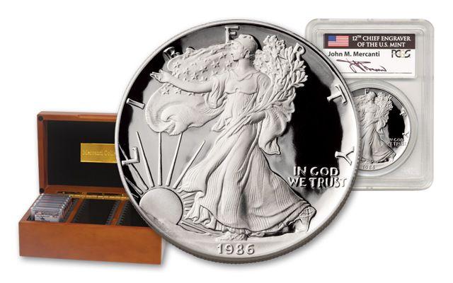 1986-1992 1-oz Silver Eagle PCGS PR69DCAM Mercanti Signed 7 Pieces