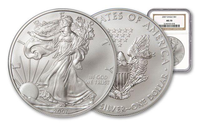 2007 1 Dollar 1-oz Silver Eagle NGC/PCGS MS70
