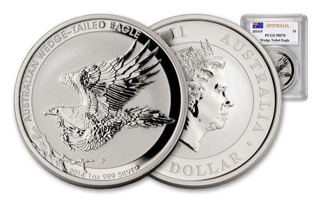 2014 Australia 1-oz Wedge Tailed Silver Eagle PCGS MS70
