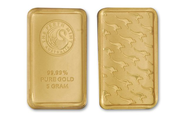 Australian 5 Gram Gold Kangaroo Bars Perth Mint Bu
