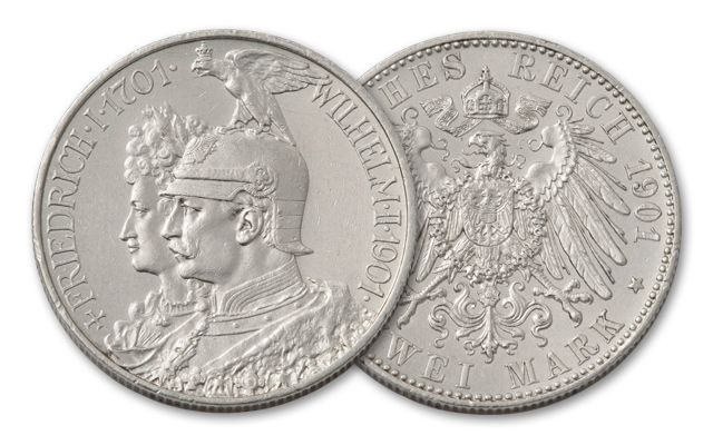 Prussia 1901 2 Marks 200th Anniversary VG-VF