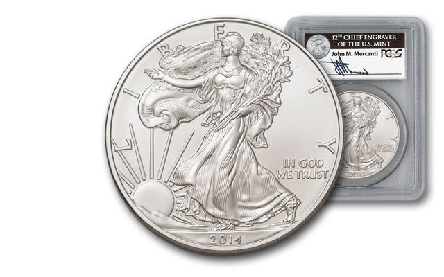 2014 1 Dollar 1-oz Silver Eagle PCGS MS70 First Strikes Box #3 Mercanti Signed