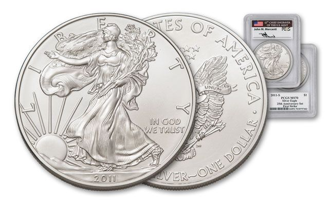 2011-S 1 Dollar 1-oz Silver Eagle Burnished PCGS MS70 Mercanti Signed
