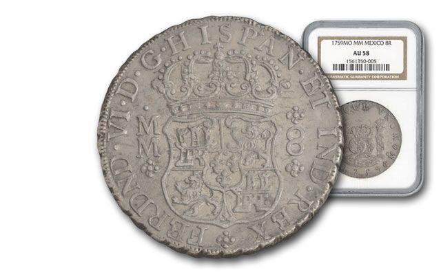 1759-MO Mexico 8 Reales Silver NGC AU58