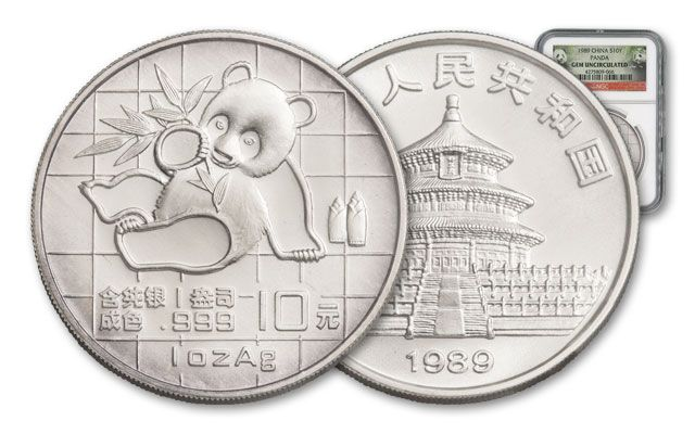 1989 China 1-oz Silver Panda NGC GEM BU