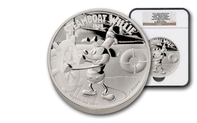2015 Niue 1 Kilo Silver Disney Steamboat Willie NGC PF69UCAM Box #4