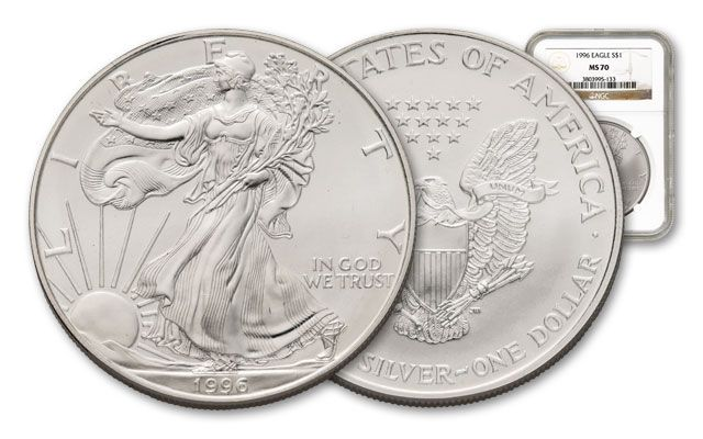 1996 1 Dollar 1-oz Silver Eagle NGC/PCGS MS70