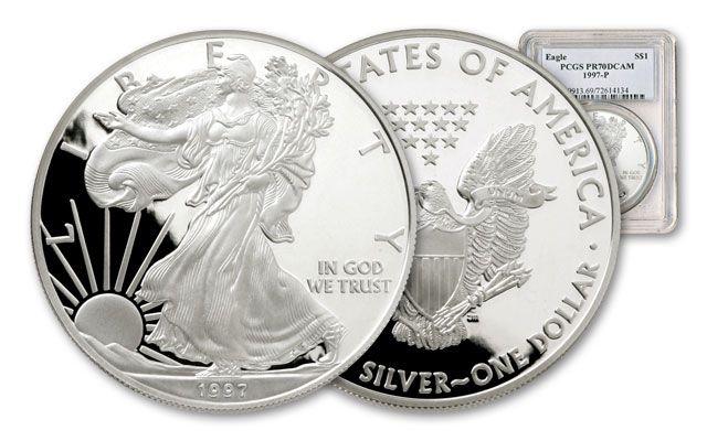 1997 1 Dollar 1-oz Silver Eagle NGC/PCGS Proof 70