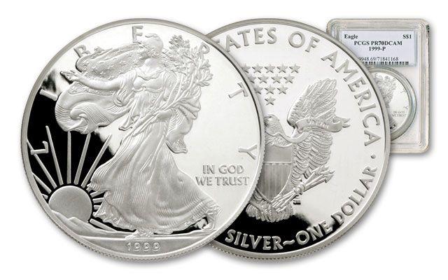 1999 1 Dollar 1-oz Silver Eagle NGC/PCGS Proof 70