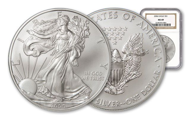 2006 1 Dollar Silver Eagle NGC/PCGS MS69