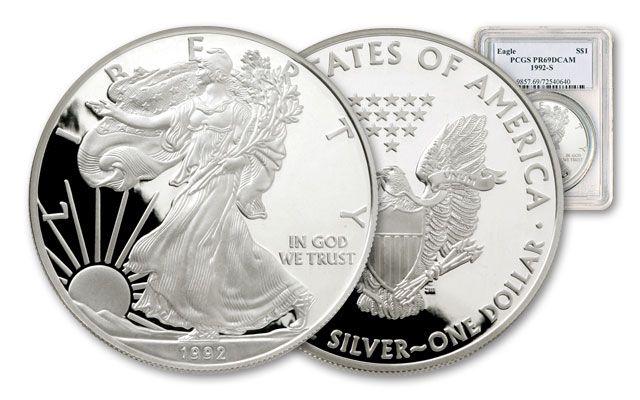 1992 1 Dollar 1-oz Silver Eagle NGC/PCGS Proof 69