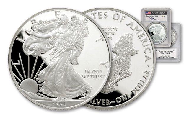 1993 1 Dollar 1-oz Silver Eagle PCGS PR69 DCAM Mercanti Signed