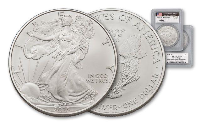 2015-W 1 Dollar 1-oz Silver Eagle Burnished PCGS SP70 FDI Baltimore