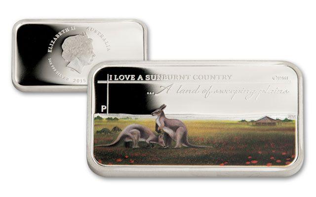 2015 Australia 1-oz Silver Kangaroo Sunburnt Country BU