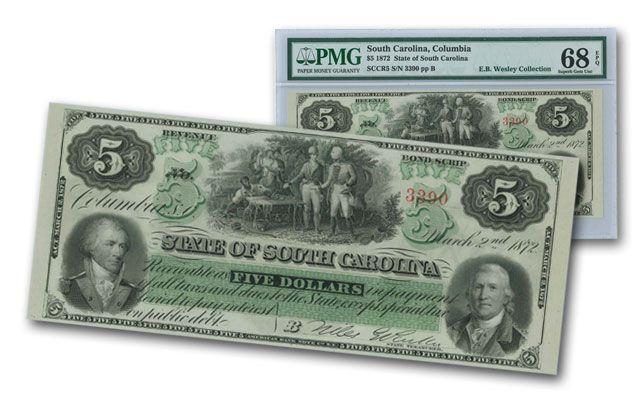 1872 5 Dollar South Carolina Note PMG 68EPQ