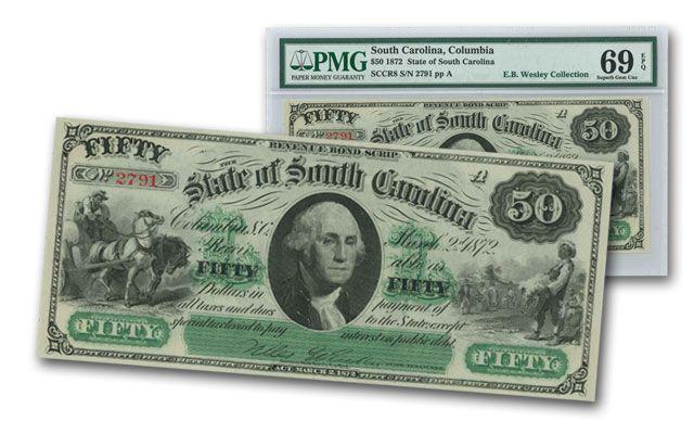 1872 50 Dollar South Carolina Note PMG 69EPQ