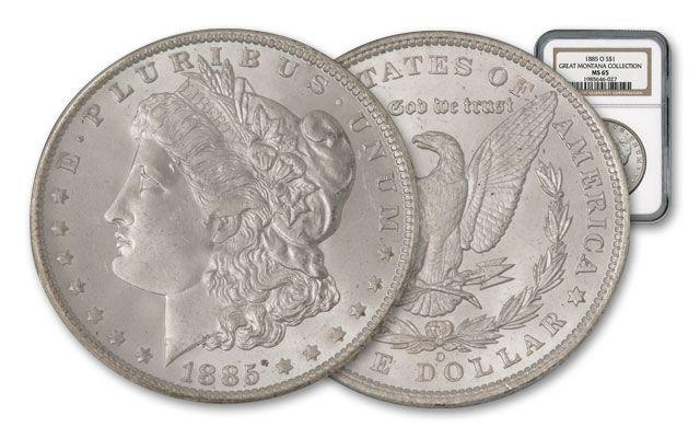 1885-O Morgan Silver Dollar Great Montana Collection NGC MS65