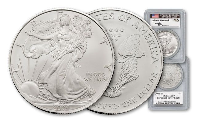 2006 One Dollar 1-oz Burnished Silver Eagle PCGS SP69 Mercanti