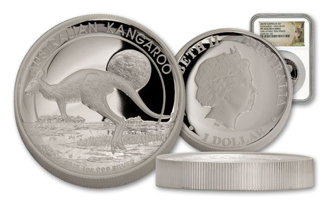 2015 Australia 1-oz Silver Kangaroo High Relief NGC PF70UCAM First Struck