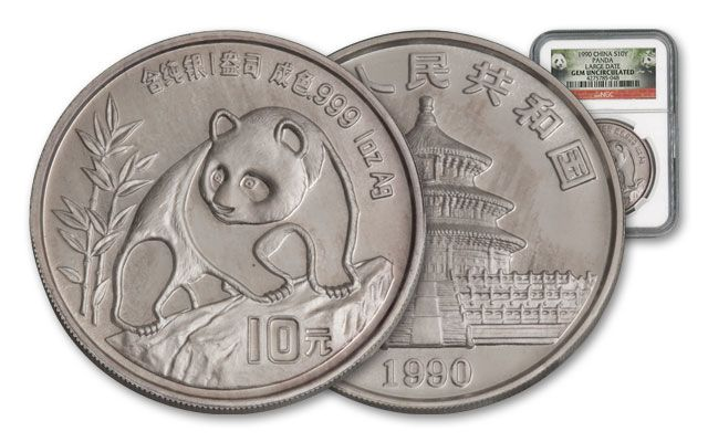 1990 China 1-oz Silver Panda NGC GEM BU - Large Date
