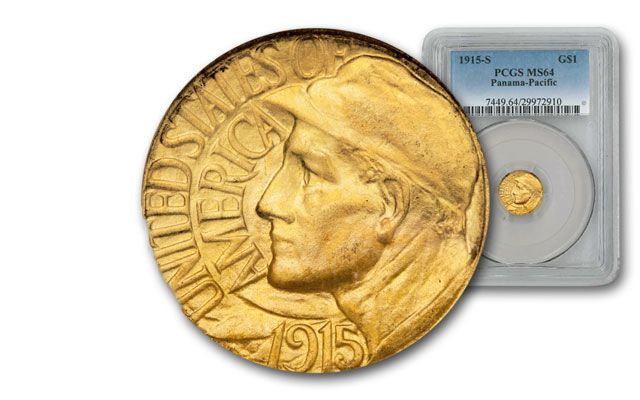 1915-S 1 Dollar Gold Panama-Pacific Exposition NGC/PCGS MS64