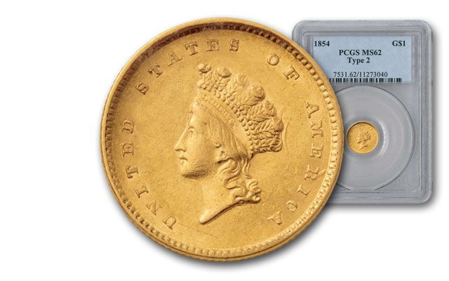1854 1 Dollar Gold Indian PCGS MS62