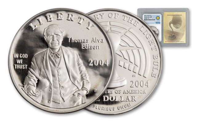 2004-P 1 Dollar Silver Thomas Edison Proof NGC PF69 Smithsonian Coin Classics