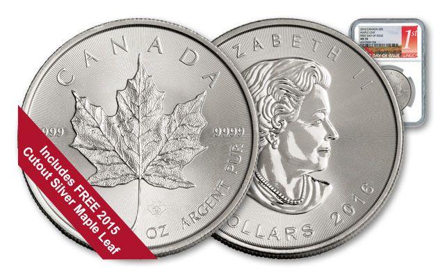 2016 Canada 5 Dollar Silver Maple Leaf NGC MS70 FDI w/Bonus Silver Coin