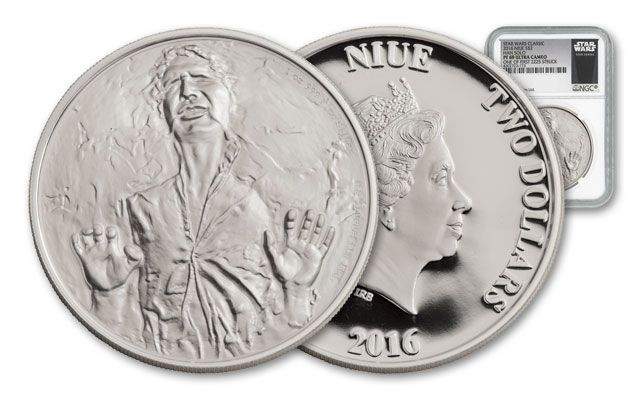 2016 Niue 2 Dollar 1-oz Silver Star Wars Classic Han Solo NGC PF69UCAM First Struck