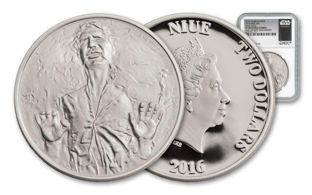 2016 Niue 2 Dollar 1-oz Silver Star Wars Classic Han Solo NGC PF69UCAM First Struck