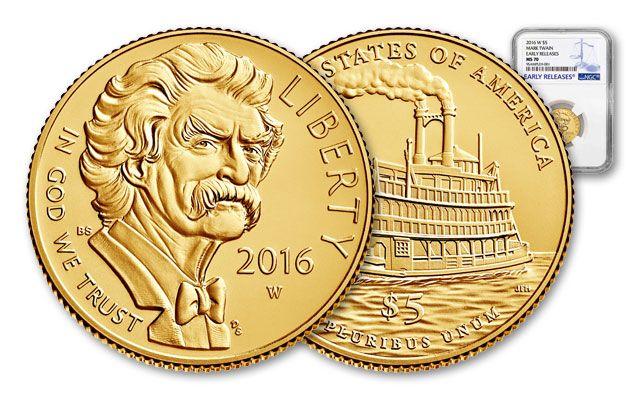 2016 5 Dollar Mark Twain Gold MS70 Commemorative Early Release