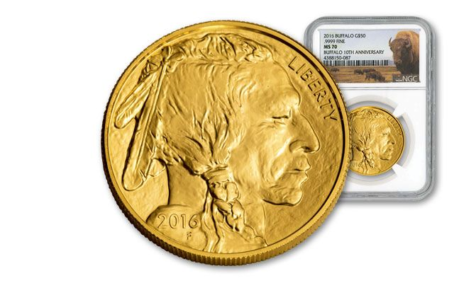 2016 50 Dollar 1-oz Gold Buffalo NGC MS70